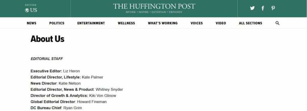 Huffington Post About Page
